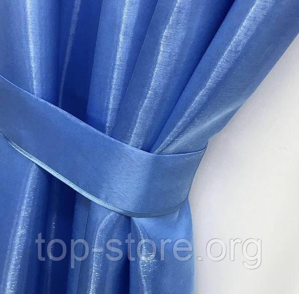 Готовий комплект штор монорей з підхватами 150х270 з тюлем кристалон 400х270 Колір Блакитний