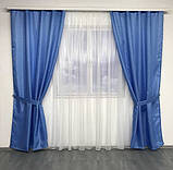 Готовий комплект штор монорей з підхватами 150х270 з тюлем кристалон 400х270 Колір Блакитний, фото 2