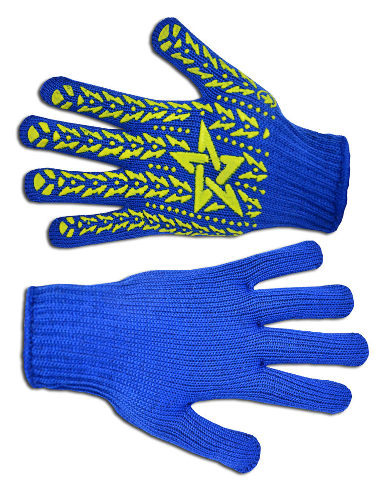 Перчатки рабочие Украина вязанные синие с ПВХ размер L (16-030)