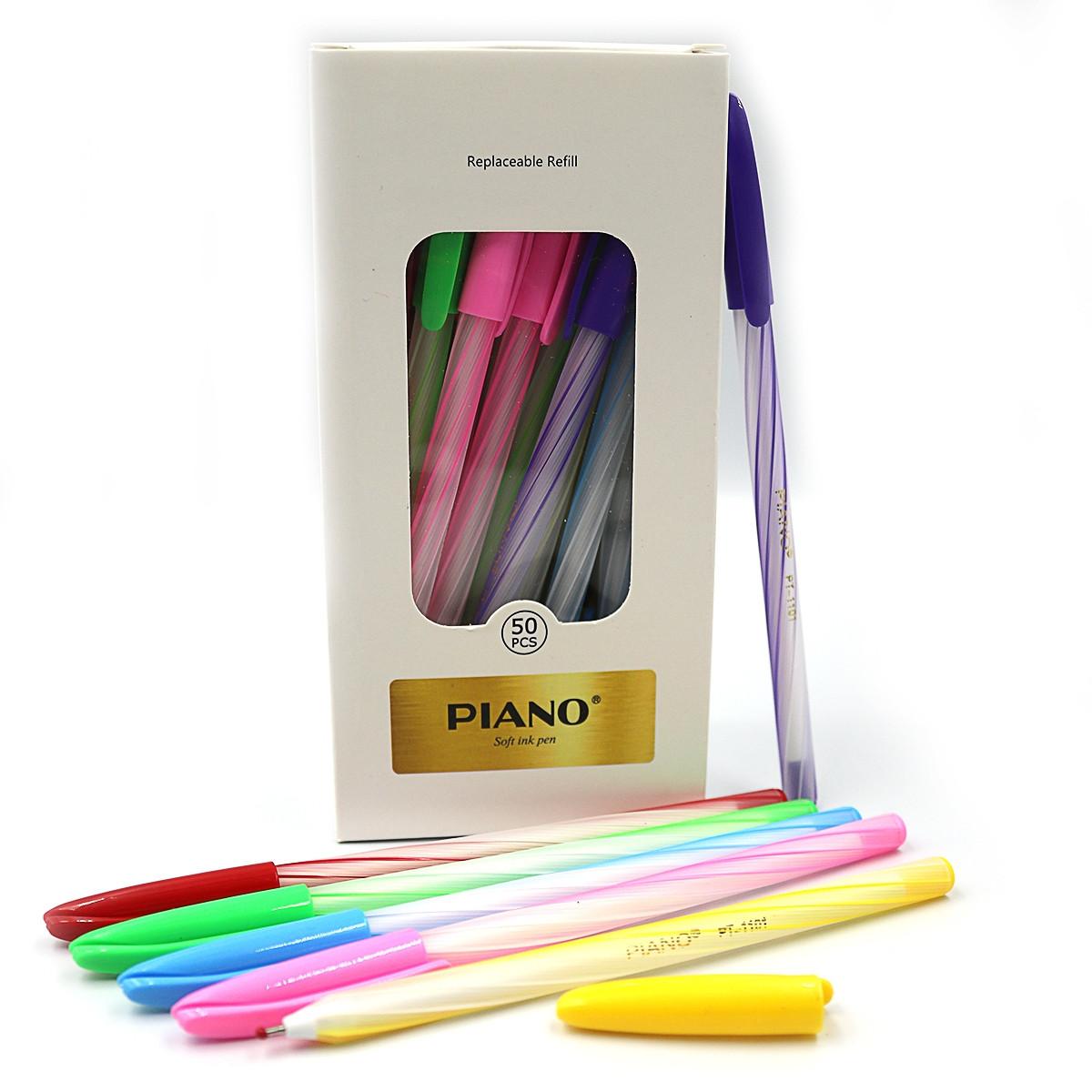 Набор ручек масляных Piano синяя, mix, 50шт/упак., 1101PT