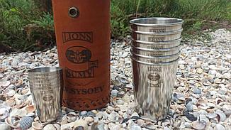 Іменний набір похідних склянок і чарок з індивідуальною гравіюванням, в шкіряному чохлі ручної роботи, фото 2