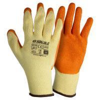 Рукавички трикотажні з частковим латексним покриттям кринкл р10 (оранж манжет) SIGMA (9445461)