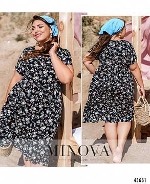 Темно-синє плаття з штапелю з кишенями розміри від 52 до 66 більше розміри, фото 2