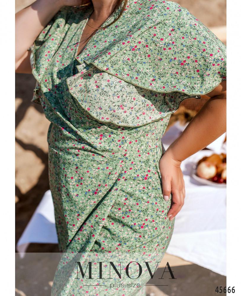 Оливковое платье из софта на запАх размеры от 46 до 60 большие размеры