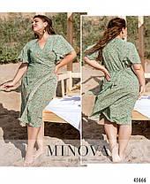 Оливковое платье из софта на запАх размеры от 46 до 60 большие размеры, фото 2