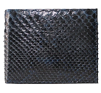 Мужской кошелек (портмоне) из натуральной кожи питона, без застежки, цвет синий