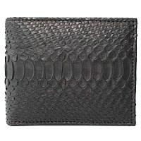 Мужской кошелек (портмоне) из натуральной кожи питона, без застежки, цвет черный