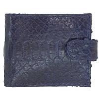 Мужской кошелек (портмоне) из натуральной кожи питона, цвет синий