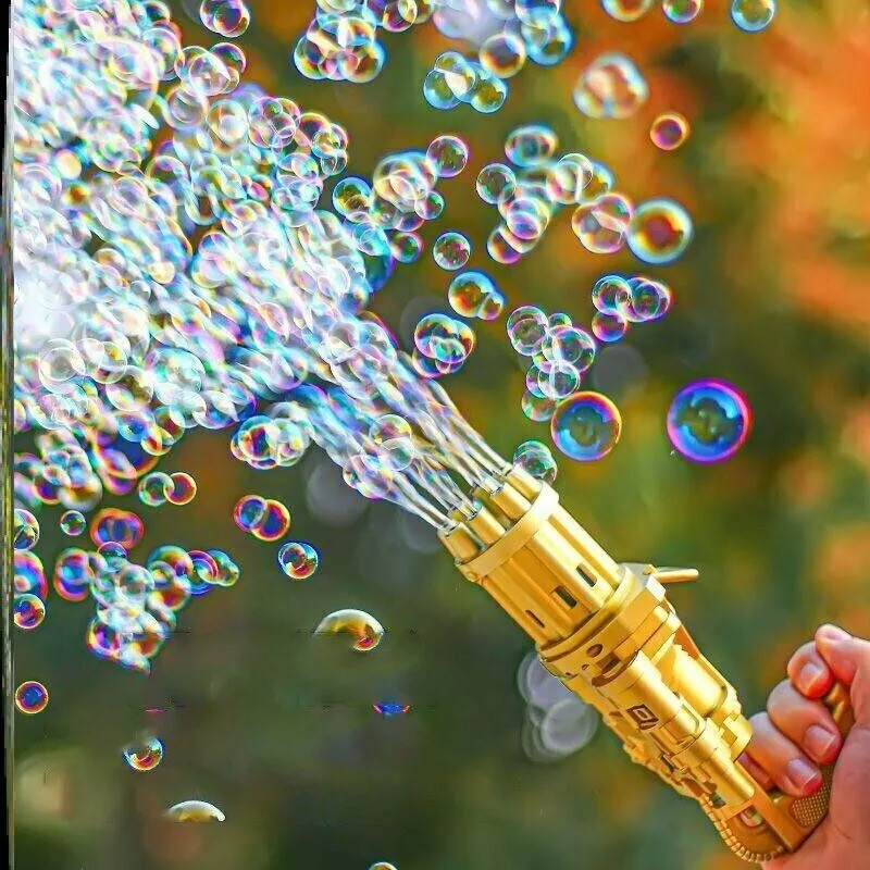 Кулемет для мильних бульбашок Bubble machine Жовтий, генератор мильних бульбашок (генератор мыльных пузырей)