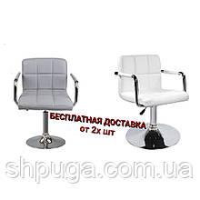Крісло Артур, екошкіра, колір білий і сірий.