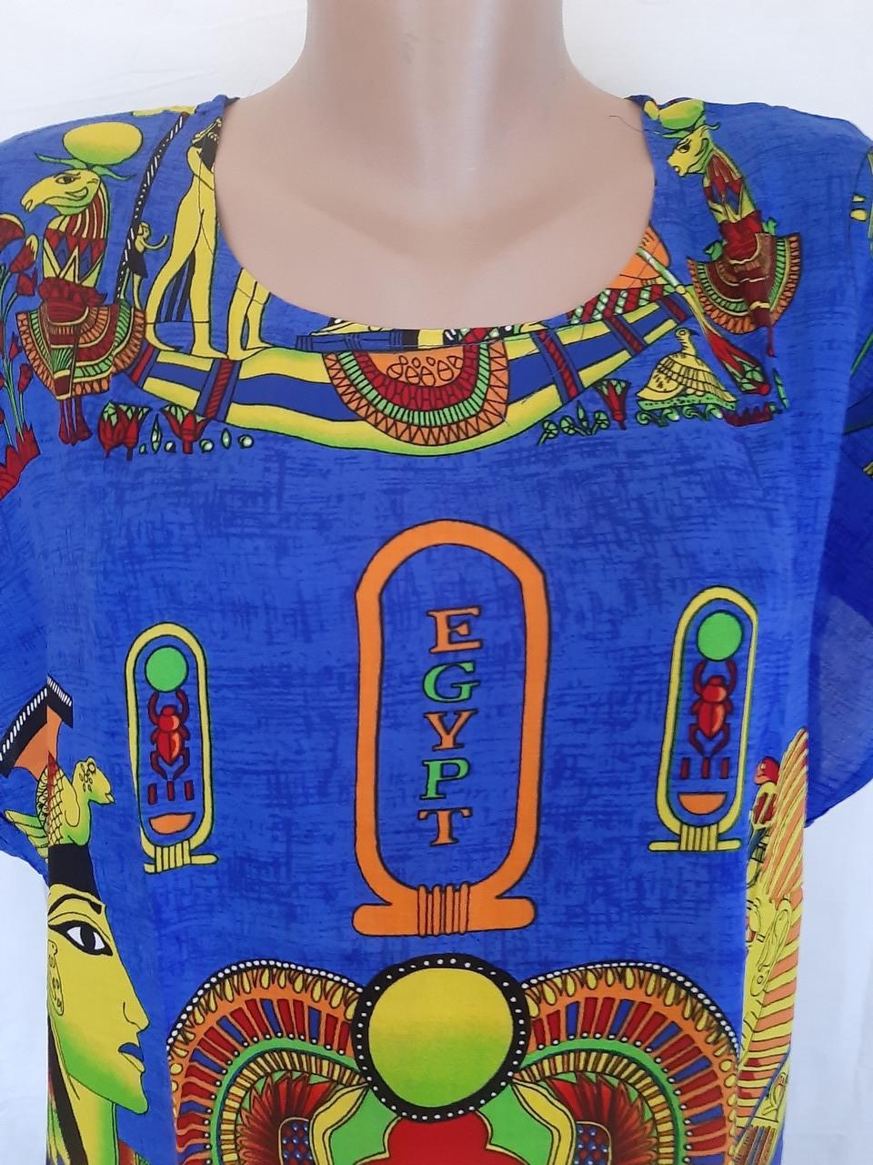 Туника Египет большого размера Штапельная туника Туника из натуральной ткани Легкая летняя туника Синяя