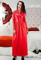 Женское Красное платье макси д/р