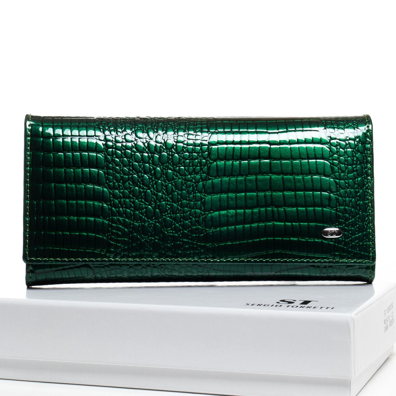PODIUM Гаманець LR шкіра лак SERGIO TORRETTI W501-2 dark-green