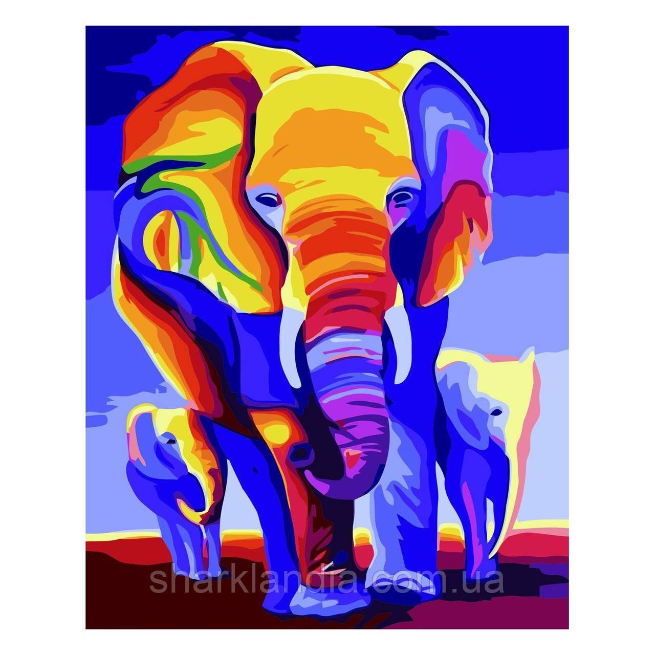 Картина по номерам Яркие слоны 30х40 см Strateg Раскраски Радужные животные Для начинающих