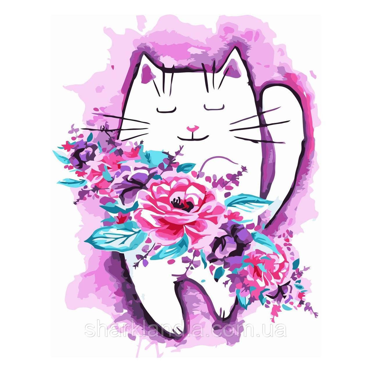 Картина за номерами Акварельнік котик з квітами 30х40 см Strateg Розмальовки