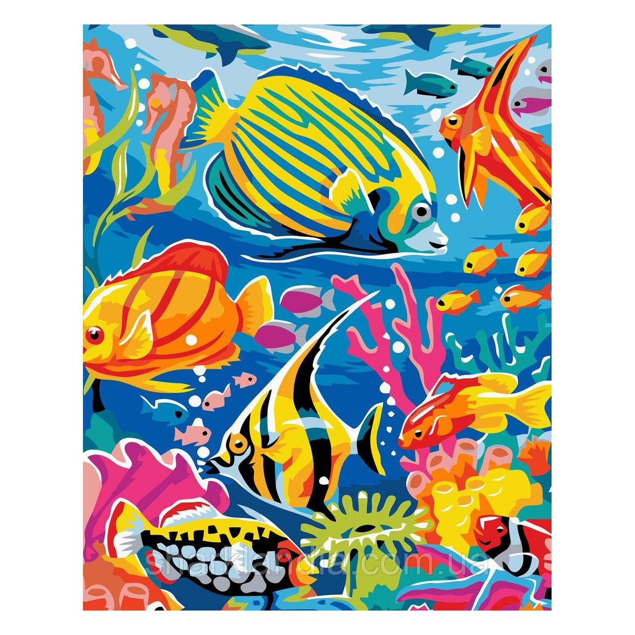 Картина по номерам Разноцветные рыбки 30х40 см Strateg Раскраски Подводный мир Для начинающих