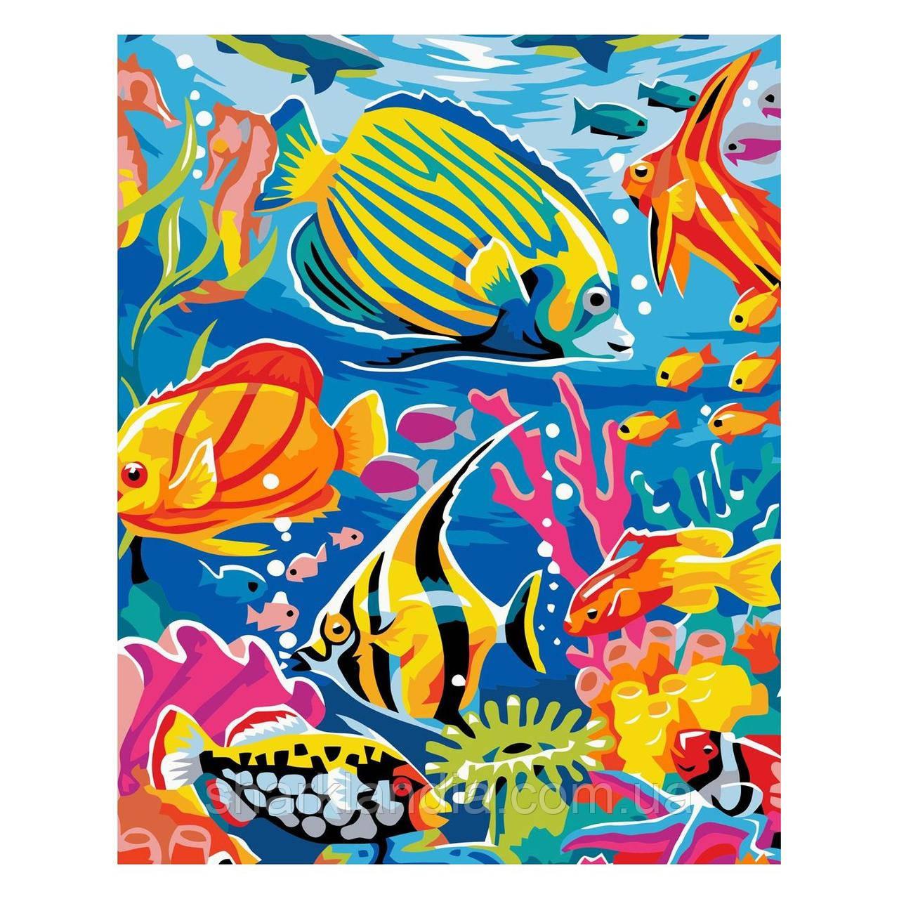 Картина за номерами Різнобарвні рибки 30х40 см Strateg Розмальовки