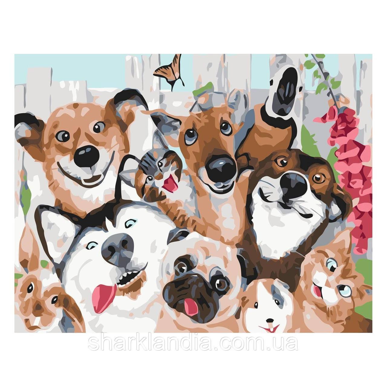 Картина по номерам Банда друзей 30х40 см Strateg Раскраски Для начинающих Прикольные