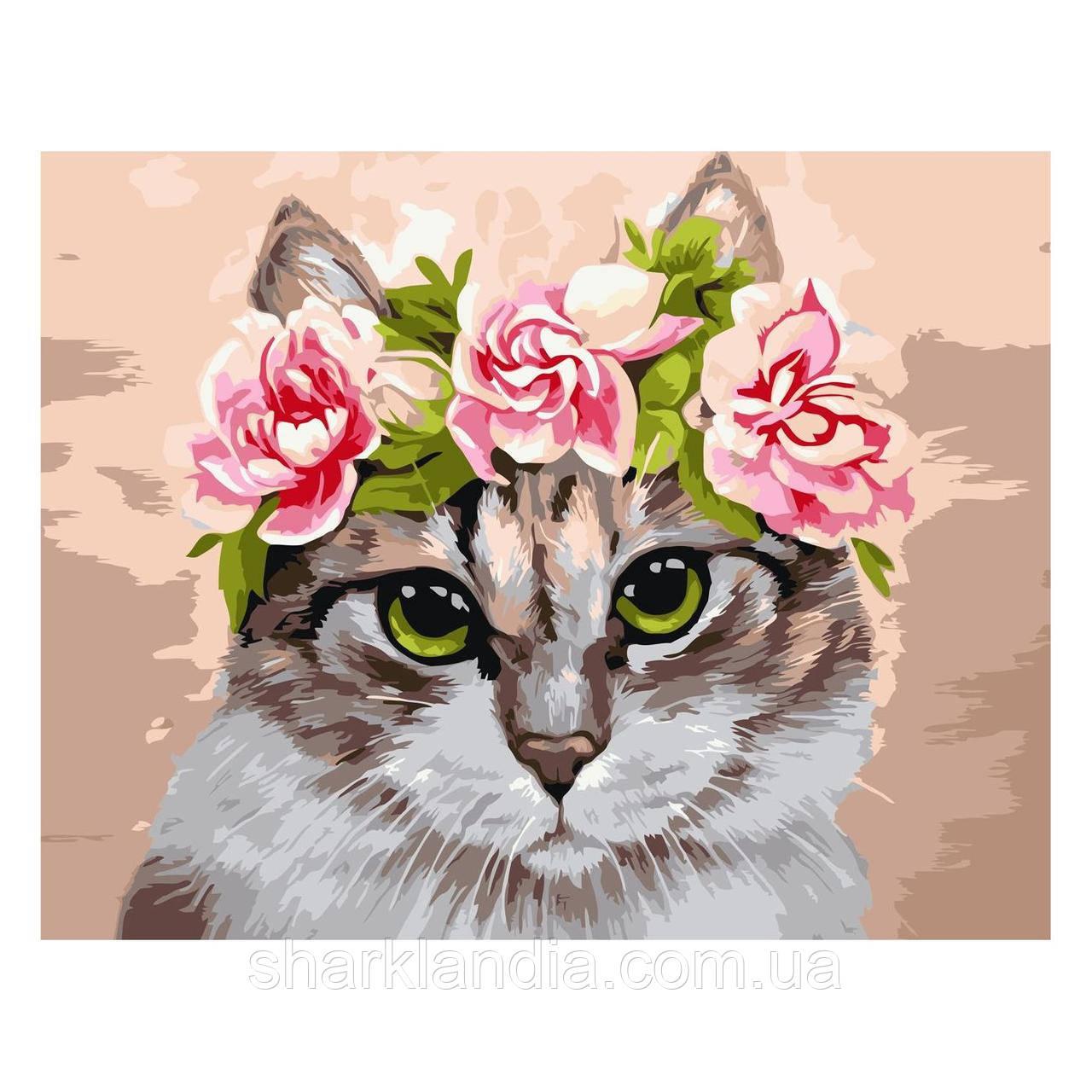Картина за номерами Кот в віночку 30х40 см Strateg Розмальовки
