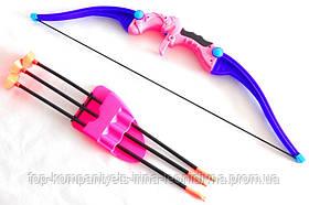 Лук дитячий з прицілом XWIN пластиковий рожевий 57см сагайдак стріли на присосках 44см мішень (9812)