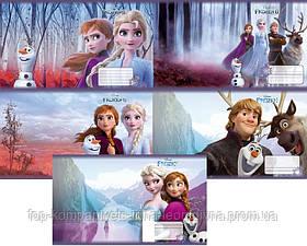 Набор тетрадей ученических 12 листов ТЕТРАДА DISNEY Frozen Холодное сердце клетка картонная обложка 5 дизайнов