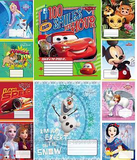 Набор тетрадей ученических 12 листов ТЕТРАДА DISNEY МИКС клетка картонная обложка 10 дизайнов 25 шт (ТЕ12396)