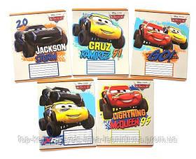 Набор тетрадей ученических 18 листов ТЕТРАДА DISNEY Cars Молния клетка картонная обложка 5 дизайнов 20 шт