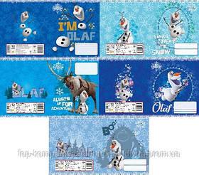 Набор тетрадей ученических 18 листов ТЕТРАДА DISNEY Frozen Олаф клетка картонная обложка 5 дизайнов 20 шт