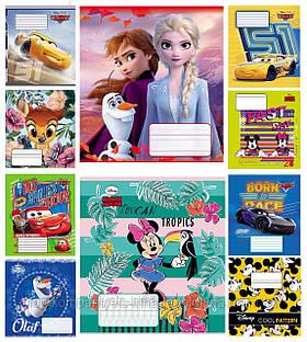 Набор тетрадей ученических 18 листов ТЕТРАДА DISNEY Микс клетка картонная обложка 10 дизайнов 20 шт (ТЕ12394)