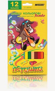 Набір кольорових олівців MARCO Пегашка JUMBO з точилкою 12 кольорів (1040-12)