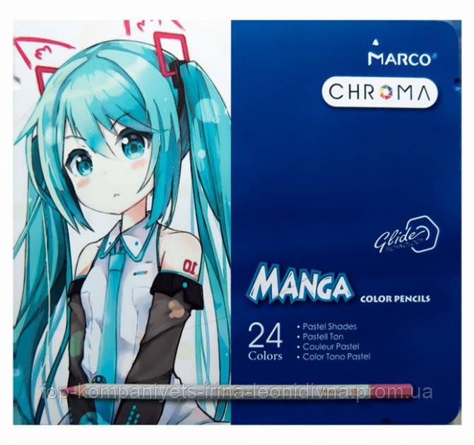 Набор цветных карандашей MARCO Chroma (Manga) Super Premium в металлическом пенале 24 цвета (8550-24TN)