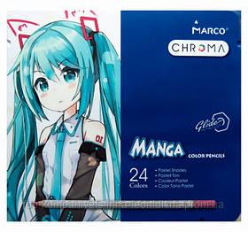 Набір кольорових олівців MARCO Chroma (Manga) Super Premium в металевому пеналі 24 кольору (8550-24TN)