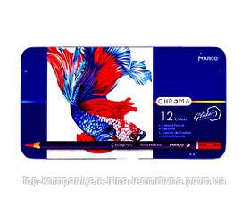 Набір кольорових олівців MARCO Chroma Super Premium в металевому пеналі 12 кольорів (8010-12TN)