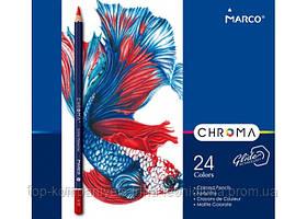 Набір кольорових олівців MARCO Chroma Super Premium в металевому пеналі 24 кольору (8010-24TN)