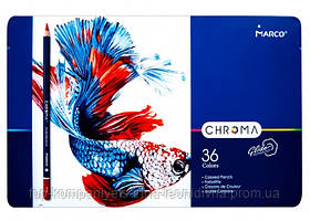 Набір кольорових олівців MARCO Chroma Super Premium в металевому пеналі 36 кольорів (8010-36TN)