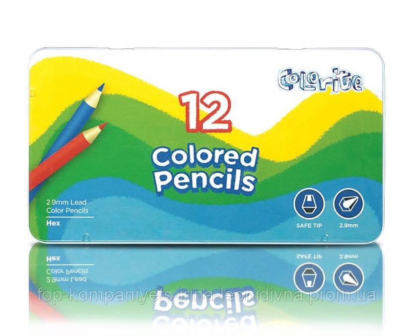 Набор цветных карандашей MARCO Colorite в металлическом пенале 12 цветов (1100-12TN)