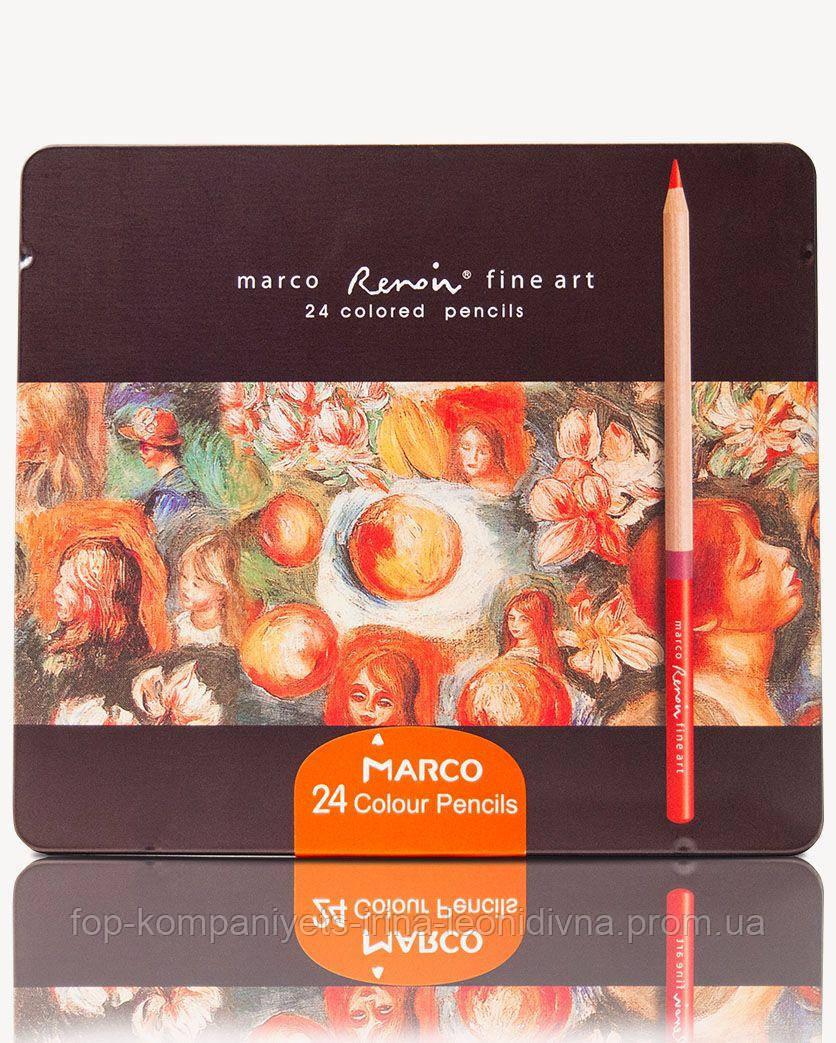 Набор цветных карандашей MARCO FineArt в металлическом пенале кедр 24 цвета (FineArt-24TN)