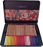 Набор цветных карандашей MARCO FineArt в металлическом пенале кедр 24 цвета (FineArt-24TN), фото 2