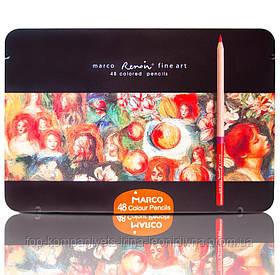 Набір кольорових олівців MARCO FineArt в металевому пеналі кедр 48 кольорів (FineArt-48TN)