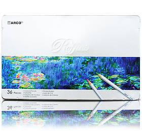 Набір кольорових олівців MARCO Raffine в металевому пеналі 36 кольорів (7100-36TN)
