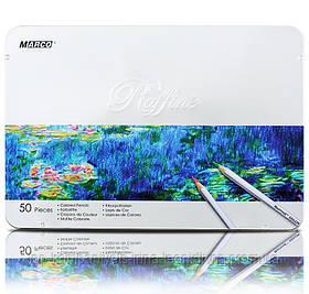 Набір кольорових олівців MARCO Raffine в металевому пеналі 50 кольорів (7100-50TN)