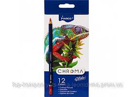 Набір кольорових олівців MARCO Chroma Super Premium 12 кольорів шестигранні (8010-12)