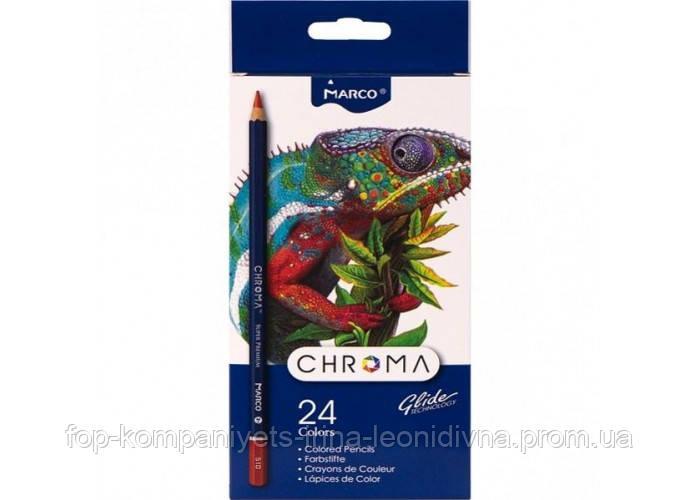Набір кольорових олівців MARCO Chroma Super Premium 24 кольору шестигранні (8010-24)