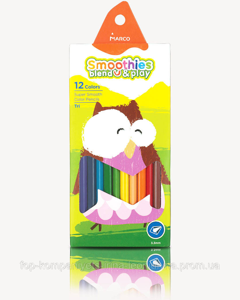 Набір кольорових олівців MARCO Smoothies суперм'які тригранні 12 кольорів (2150-12)
