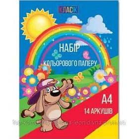 Набір кольорового паперу ТЕТРАДА КЛАСИК А4 14л скоба (ТЕ436)