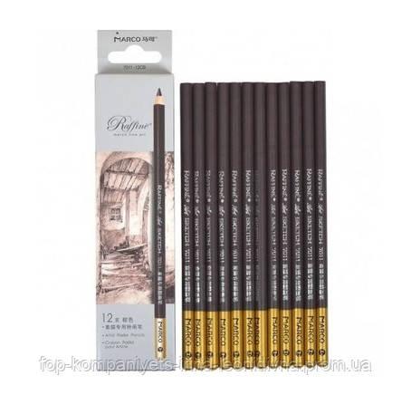 Набір чернографитных олівців MARCO Raffine 12шт пастельні круглі колір сепія (7016-12СВ)