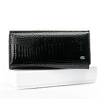 Жіночий шкіряний гаманець лаковий 18.5*9.5*4 чорний, фото 1