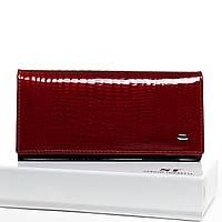 Женский кожаный кошелек  лаковый 18.5*9.5*4 красный, фото 1