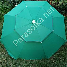 Зонт торговий пляжний зелений 2,4 метри