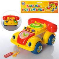 Каталка 705 Р (60шт) машинка-телефон, звук, счеты, в кульке, 22-19-13см